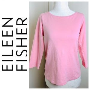 EILEEN FISHER 3/4 Sleeves Pink T-SHIRT Tee Top